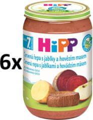 HiPP BIO Červená řepa s jablky a hovězím - 6x220g