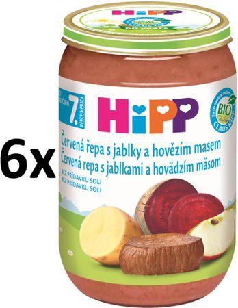 HiPP BIO Červená repa s jablkami a hovädzím - 6x220g