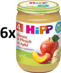 HiPP BIO Jablká s banánmi a broskyňami - 6 x 190 g