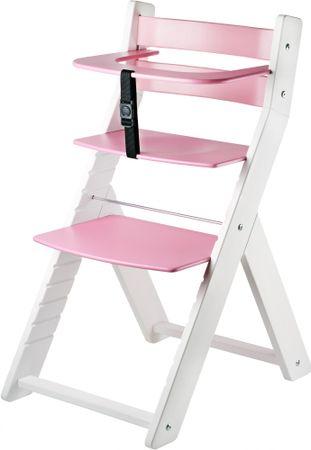 Wood Partner Dětská rostoucí židle LUCA bílá/růžová