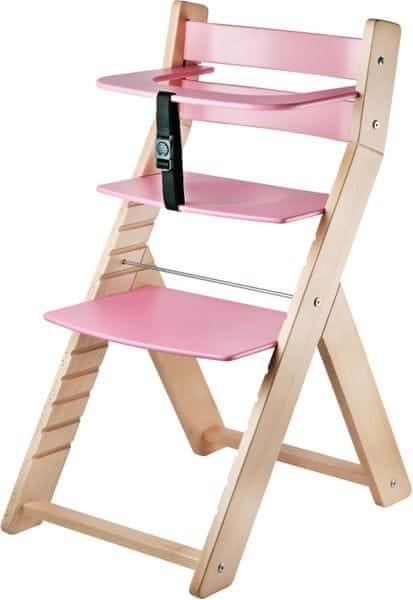 Wood Partner Dětská rostoucí židle LUCA natur/růžová
