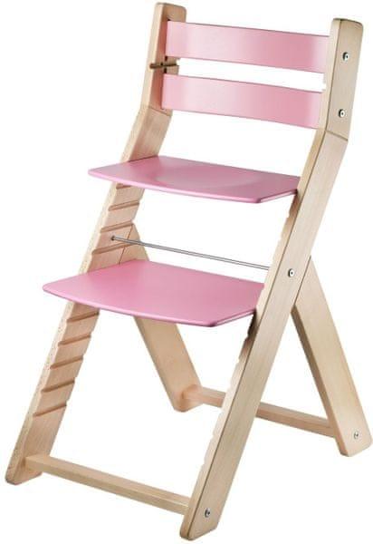 Wood Partner Dětská rostoucí židle SANDY natur/růžová