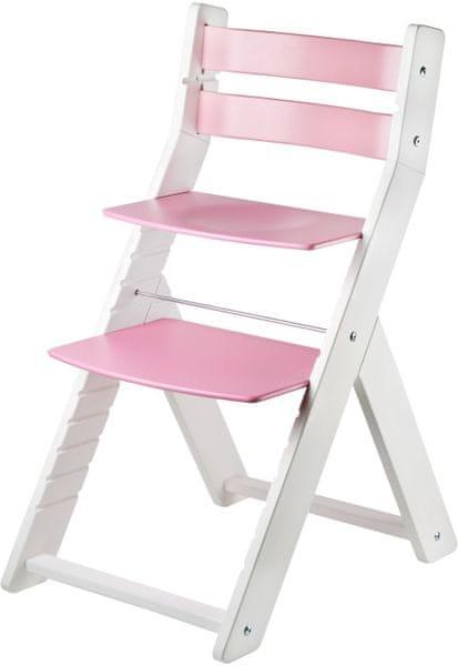 Wood Partner Dětská rostoucí židle SANDY bílá/růžová