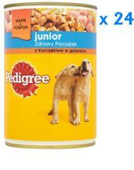 Pedigree mokra karma w puszce Junior z kurczakiem w galarecie- 24 x 400 g