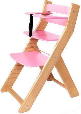 Wood Partner Dětská rostoucí židle UNIZE natur/růžová