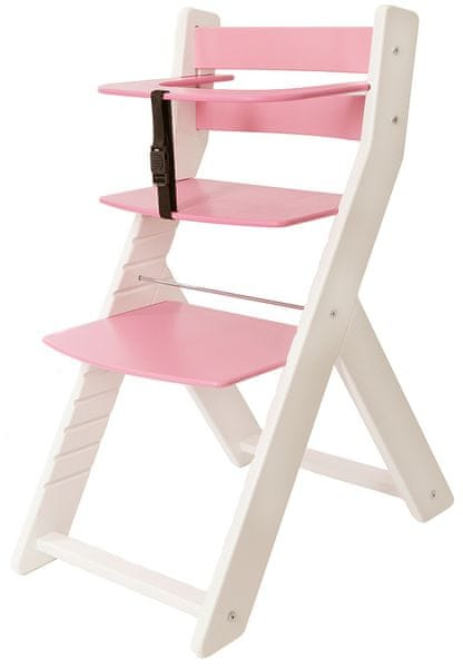 Wood Partner Dětská rostoucí židle UNIZE bílá/růžová