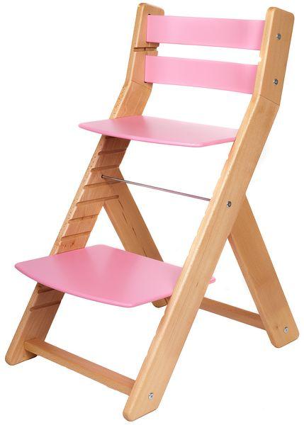 Wood Partner Dětská rostoucí židle MONY natur/růžová