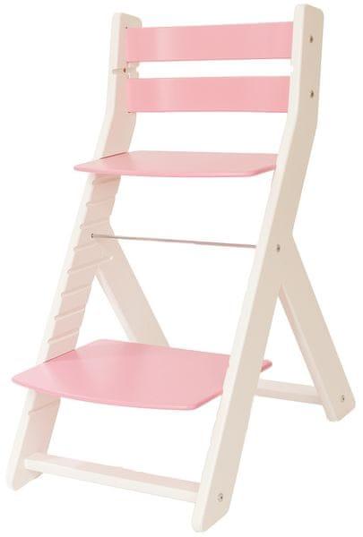 Wood Partner Dětská rostoucí židle MONY bílá/růžová