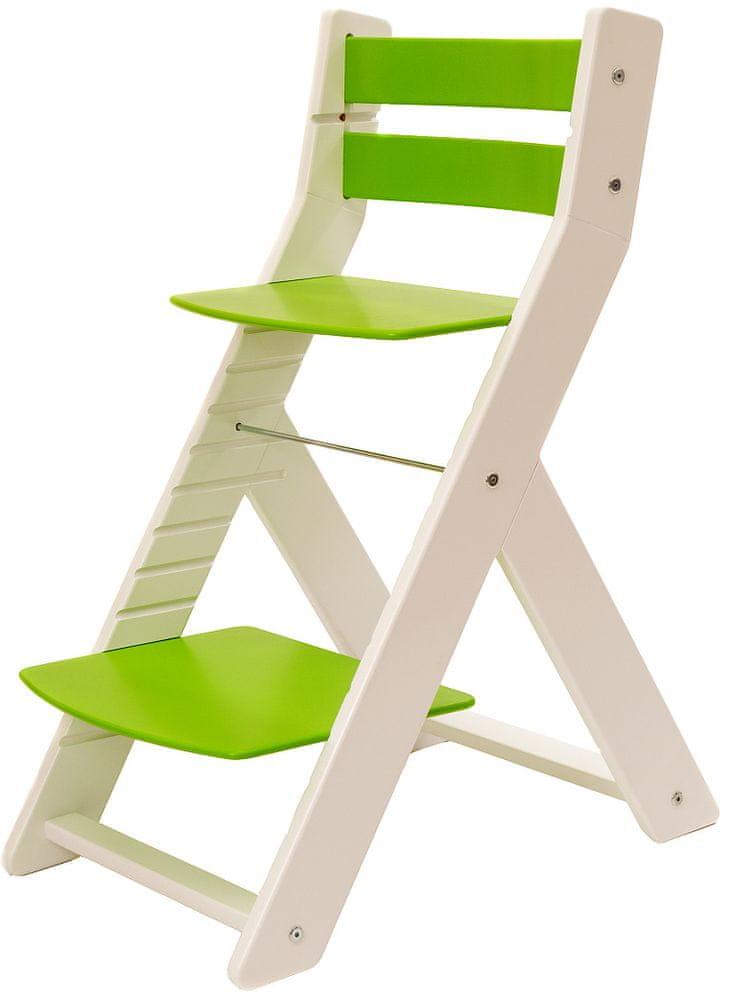 Wood Partner Dětská rostoucí židle MONY bílá/zelená