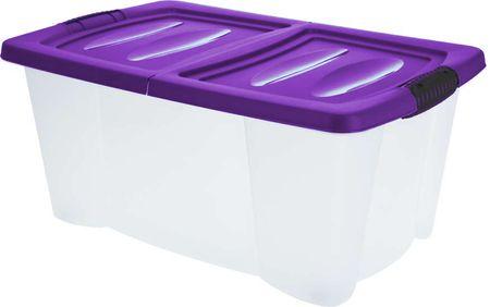 KAISERHOFF Úložný plastový box s víkem 39 l fialová