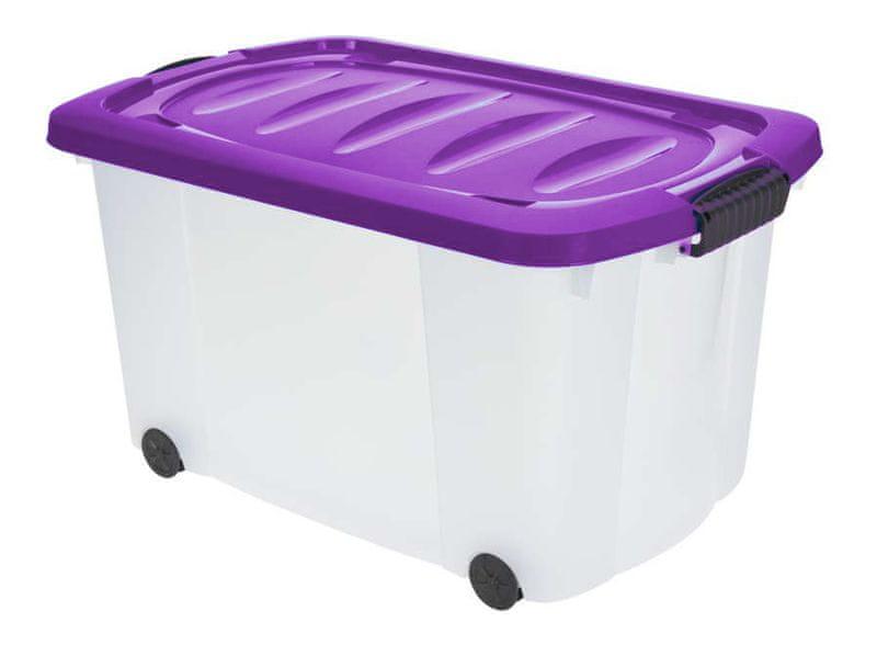 KAISERHOFF Pojízdný úložný box s víkem 45 l (KO-890266), fialová