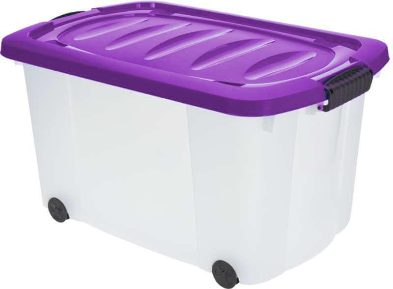 KAISERHOFF Pojízdný úložný box s víkem 60l (KO-890274), fialová