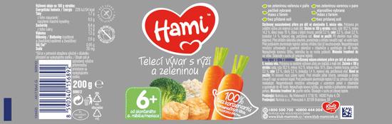 Hami Teľací vývar s ryžou a zeleninou - 6 x 200g