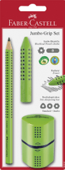 Faber set Grip, grafični svinčnik + radirka + šilček, svetlo zelen