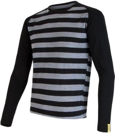 Sensor Merino Wool Active pánske tričko dl.ruk. Čierna Pruhy S