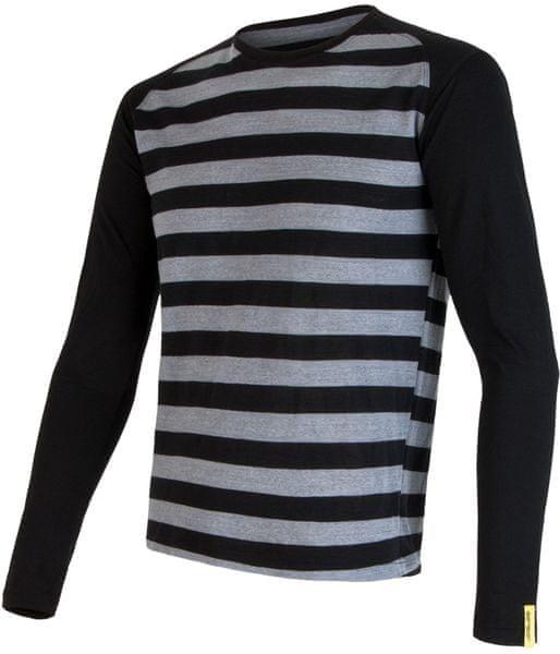 Sensor Merino Wool Active pánské triko dl.ruk. Černá Pruhy S