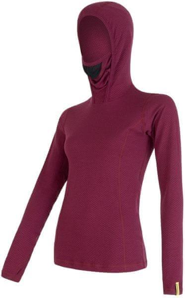 Sensor Double Face Merino Wool dámské triko dl.ruk. s kapucí Lila L