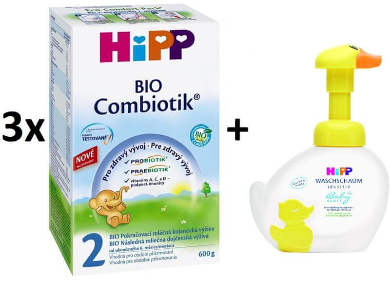 HiPP 2 BIO Combiotic - 3x600g + Pěna na mytí Kachna, 250 ml