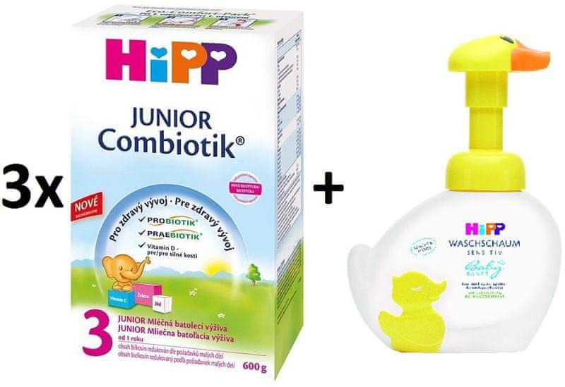 HiPP 3 Junior Combiotic - 3x600g + Pěna na mytí Kachna, 250 ml