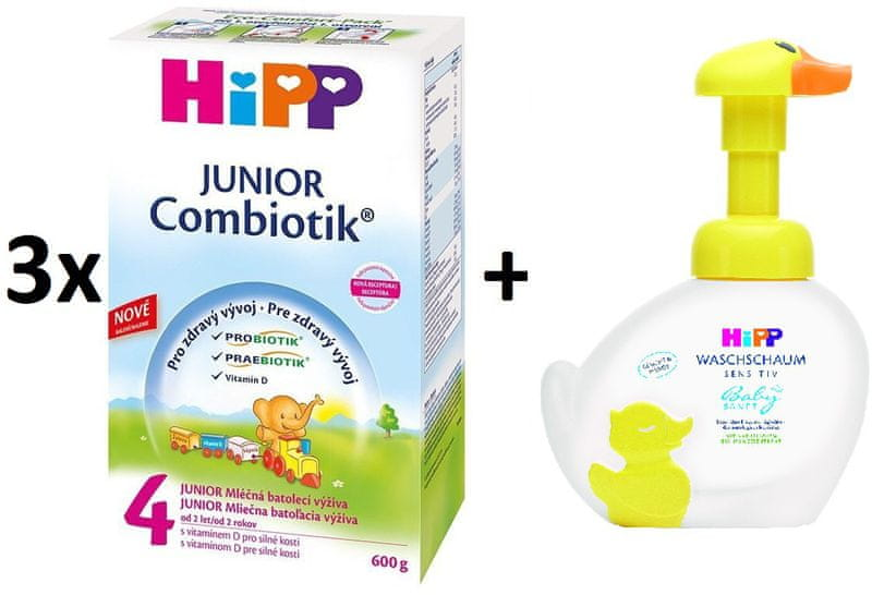 HiPP 4 Junior Combiotic - 3x600g + Pěna na mytí Kachna, 250 ml