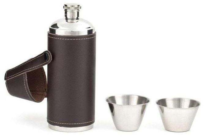 Kikkerland Set lahve s kalíšky v koženém pouzdru