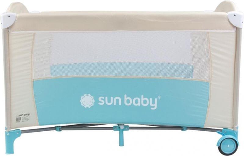 Sun Baby Cestovní postýlka Sweet dreams bez vložného lůžka světle hnědá pastel - světle modrá