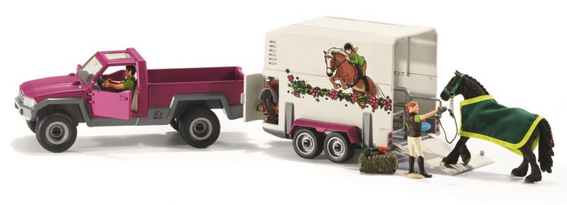 Schleich Pick-up s přívěsem a koněm 42346