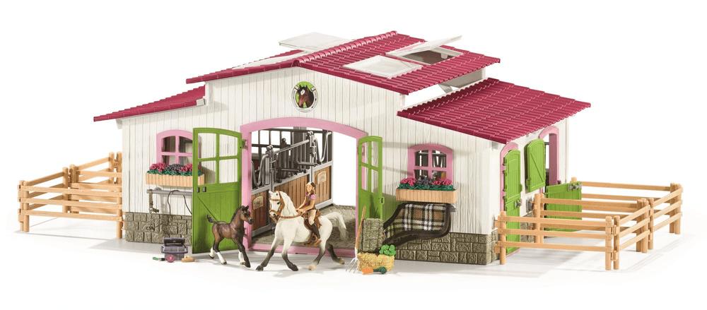 Schleich Stáj s koňmi a příslušenstvím v pastelových barvách 42344