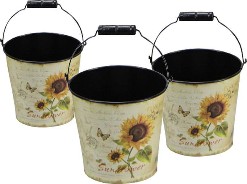 NOHEL GARDEN Set kbelíků Slunečnice 3 ks