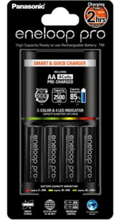 Panasonic polnilec baterij Eneloop Quick Charger + 4x AA Pro
