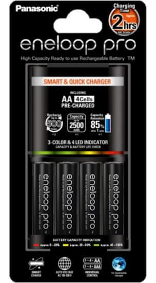 PANASONIC Smart & Quick charger Elemtöltő + 4x AA 2500 mAh elem