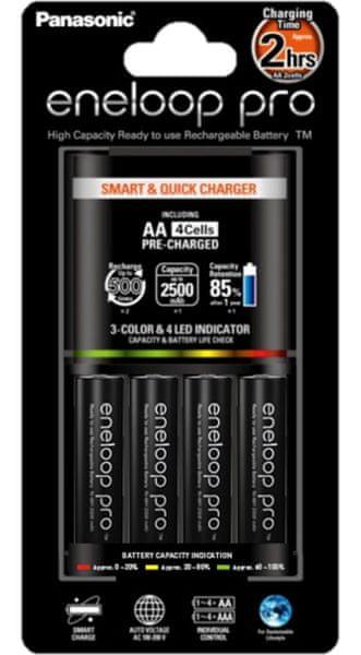 Panasonic Smart & Quick charger 4x AA 2500 mAh