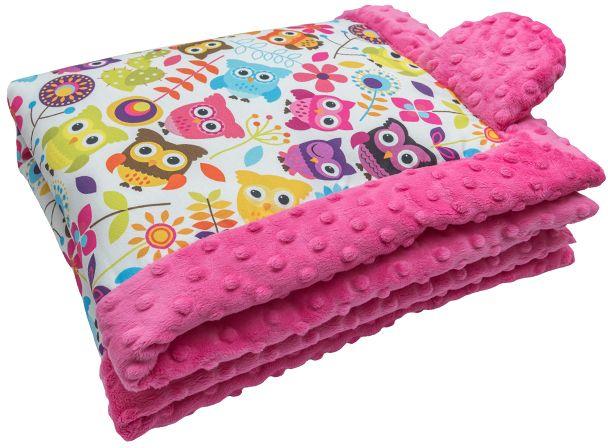 CuddlyZOO Dětská deka s výplní, vel. S - sovy/růžová