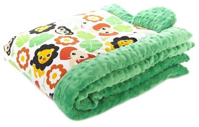 CuddlyZOO Dětská deka s výplní, vel. S - safari/zelená