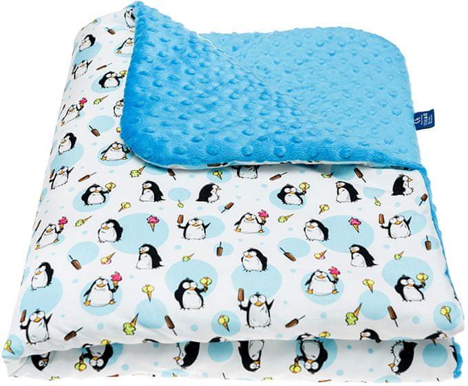 CuddlyZOO Dětská deka s výplní, vel. M - tučňák/modrá