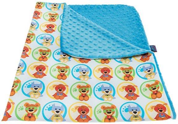 CuddlyZOO Dětská deka bez výplně - superhero/modrá