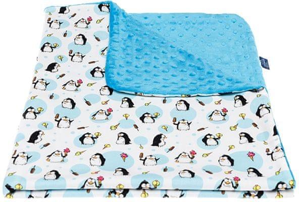 CuddlyZOO Dětská deka bez výplně - tučňák/modrá