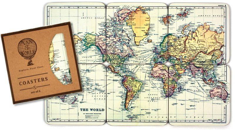 Gift Republic Podtácky Mapa světa 6 ks