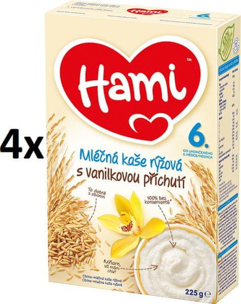 Hami Kaše mléčná s příchutí vanilky - 4 x 225g