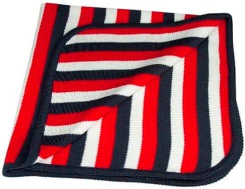 EKO Pletená deka pruh - červená