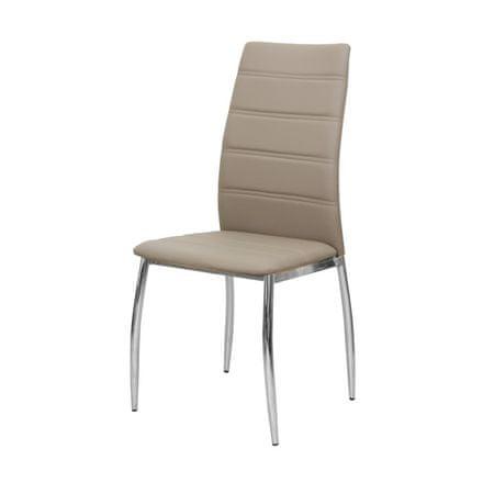 Stolička, ekokoža hnedá/chróm, DELA