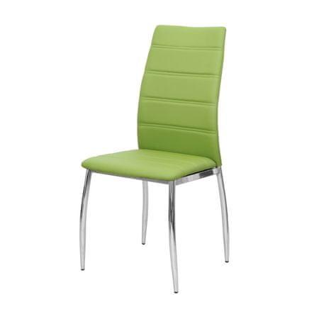 Stolička, ekokoža zelená/chróm, DELA