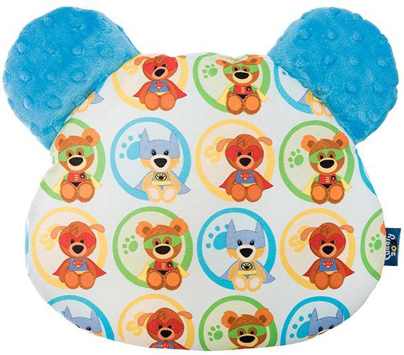 CuddlyZOO Oboustranný polštářek s oušky - superhero/modrá