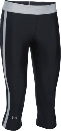 Under Armour legginsy HG Armour Sport Capri Black True Gray Heather Metallic Silver M