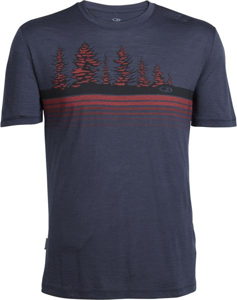 Icebreaker Mens Tech Lite SS Crewe Tree Line Stealth/Rocket L