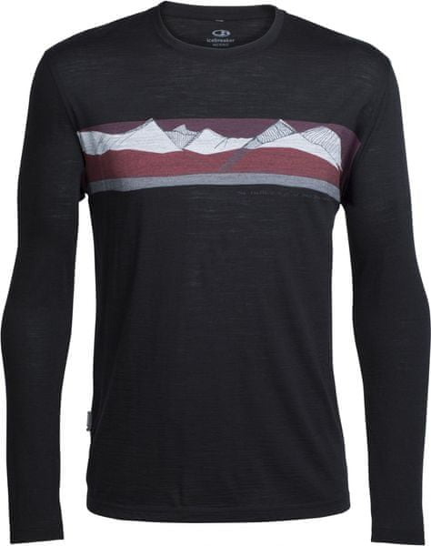 Icebreaker Mens Tech Lite LS Crewe South Alps Black/Redwood L