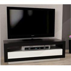 TV stolík/skrinka, čierna/biela, AGNES