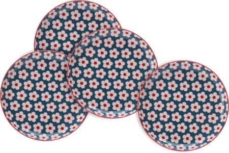 Maxwell & Williams set krožnikov za sladice Cotton Bud, 18,5 cm, modra, 4 kosi