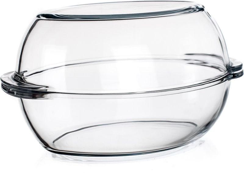 Pasabahce Borcam Pekáč skleněný oválný s víkem 6 l