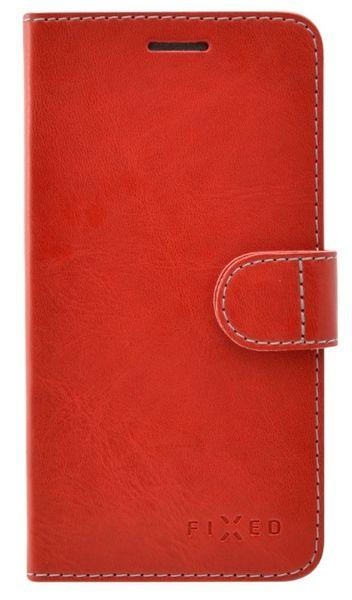 Fixed flipové pouzdro FIT, Apple iPhone 5/5S/SE, červená, bílé prošití